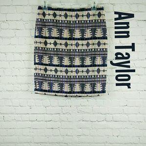 NWOT, Ann Taylor Aztec Pencil Skirt, Size 10